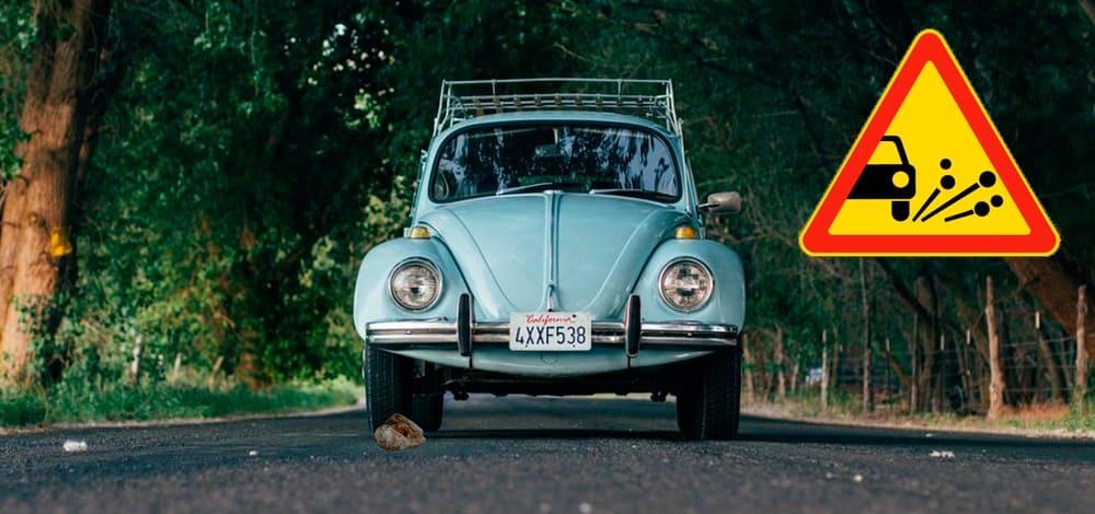 Выброс камней из-под колёс автомобиля